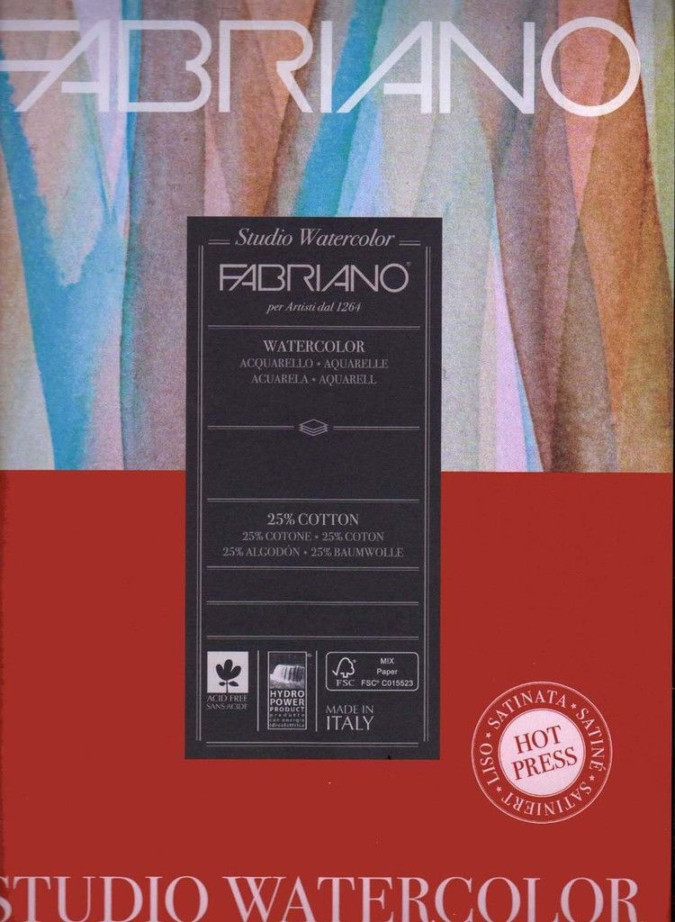 Fabriano Studio 90 Lb 200 Gsm Cold Press Watercolor Pad 9 X 12