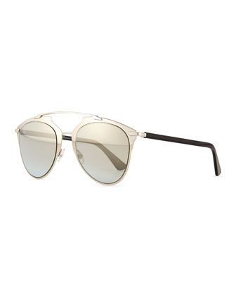 Mirrored Two-Tone Aviator Sunglasses, Pale Golden/Black by Dior at Bergdorf Goodman.