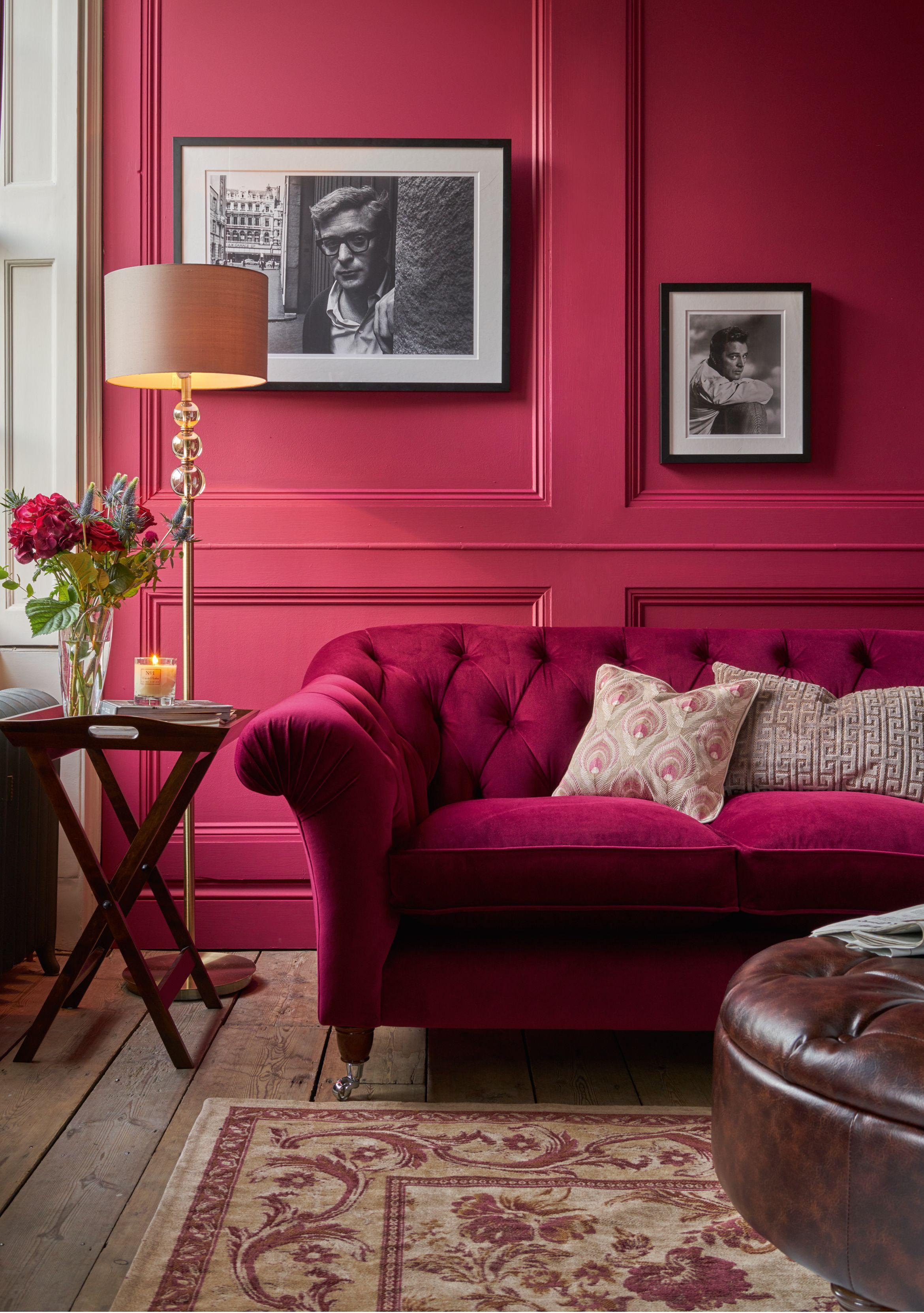 canapé chesterfield rouge, vintage, velours | salon | pinterest