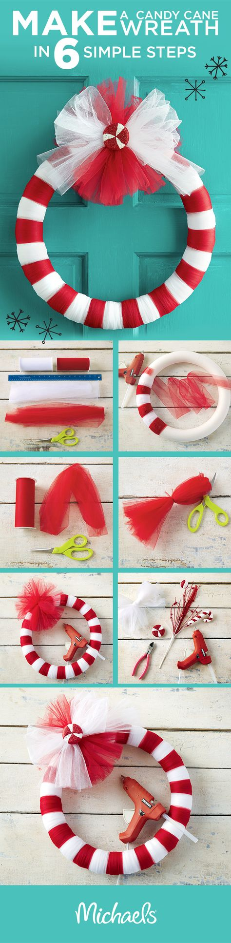 Make a candy cane wreath in 6 simple steps! First, wrap the wreath form with tulle, alternating red and white. Then, create a bow with red tulle. Finish the wreath by adding a peppermint decoration with hot glue. Get all of the supplies you need to make this wreath at your local Michaels store.