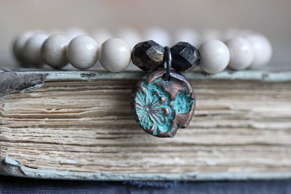 River Stone Stack Bracelet with Copper Flower by MossyCreekStudio