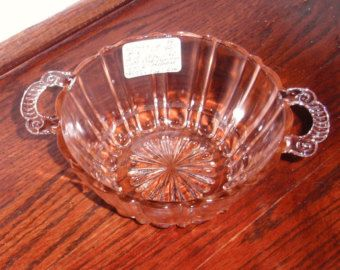 """Miss America Depression Glass Bowl   DEPRESSION Glass Old Cafe 1936 Pink Crystal 6"""" Double Handled Bowl ..."""