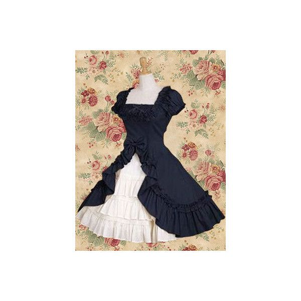 Classic Navy Blue Short Sleeves Ruffles Cotton Lolita Dress ($65) ❤ liked on Polyvore