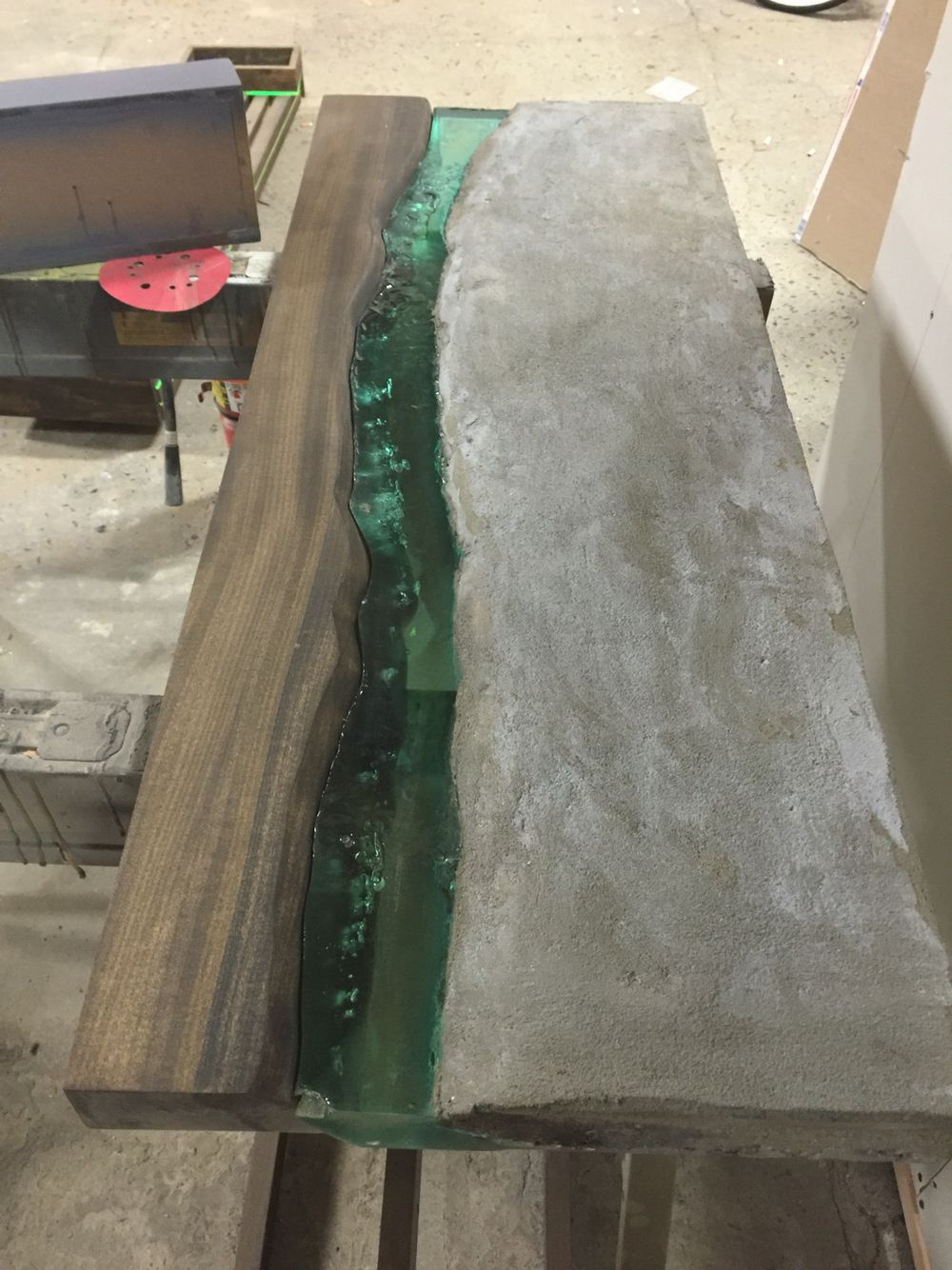 Casted Concrete And Resin Live Edge River Table Created By