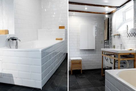 Du carrelage blanc dans la salle de bain c\u0027est zen ! Tablier