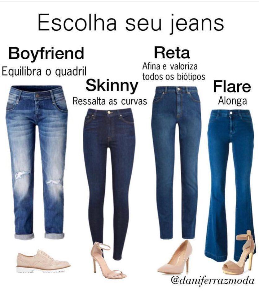 f8f31a4138 Calça jeans = cada modelagem, um efeito! ✔️Equilibrar o quadril; ressaltar  as curvas; afinar; alonga