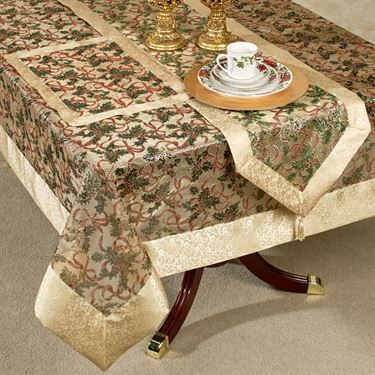 Holly Ribbon Sheer Table Linens Table Linens Red Table Linens Holiday Table Decorations