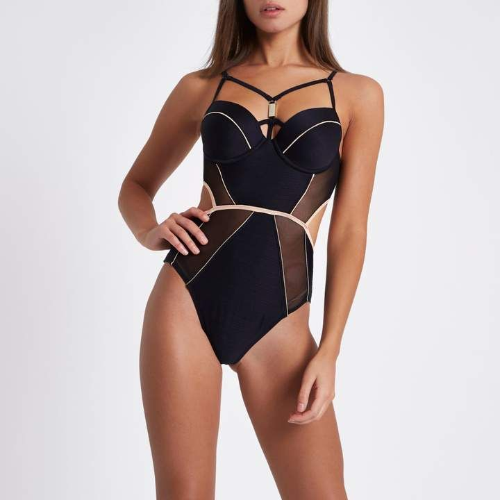 3c3b53ef53033 River Island Womens Black mesh insert plunge harness swimsuit. Textured swim  fabric. Mesh inserts