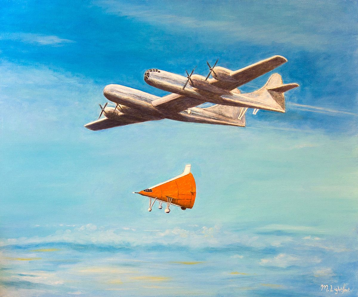 X1SB being airdropped by B29 Duo mothership. Oil on