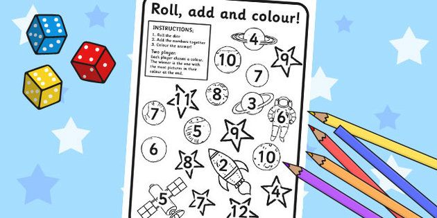 Space Roll And Colour Dice Addition Activity