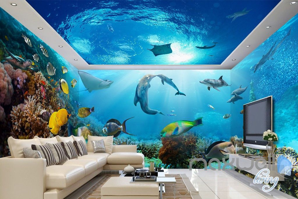 3d tropical fish coral underwater entire living room on wall stickers for living room id=30831