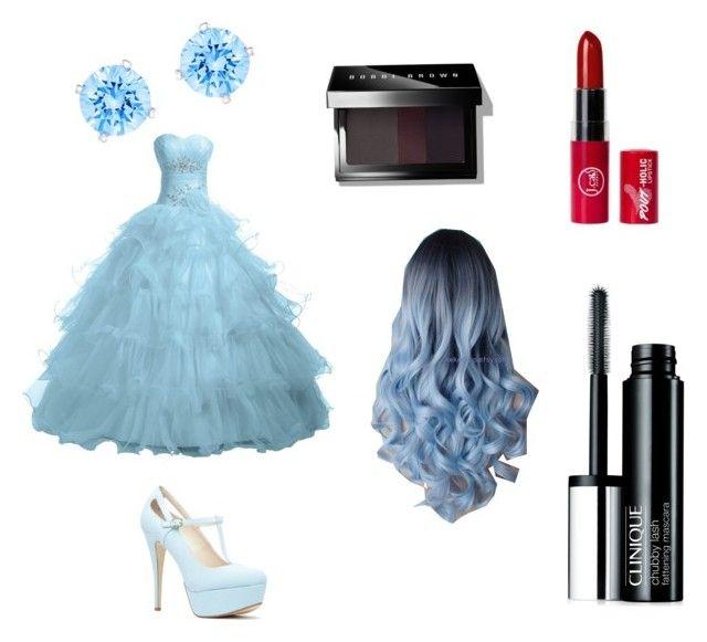 """Blue themed prom"" by jordanramona ❤ liked on Polyvore featuring moda, Clinique, Bobbi Brown Cosmetics e Swarovski"