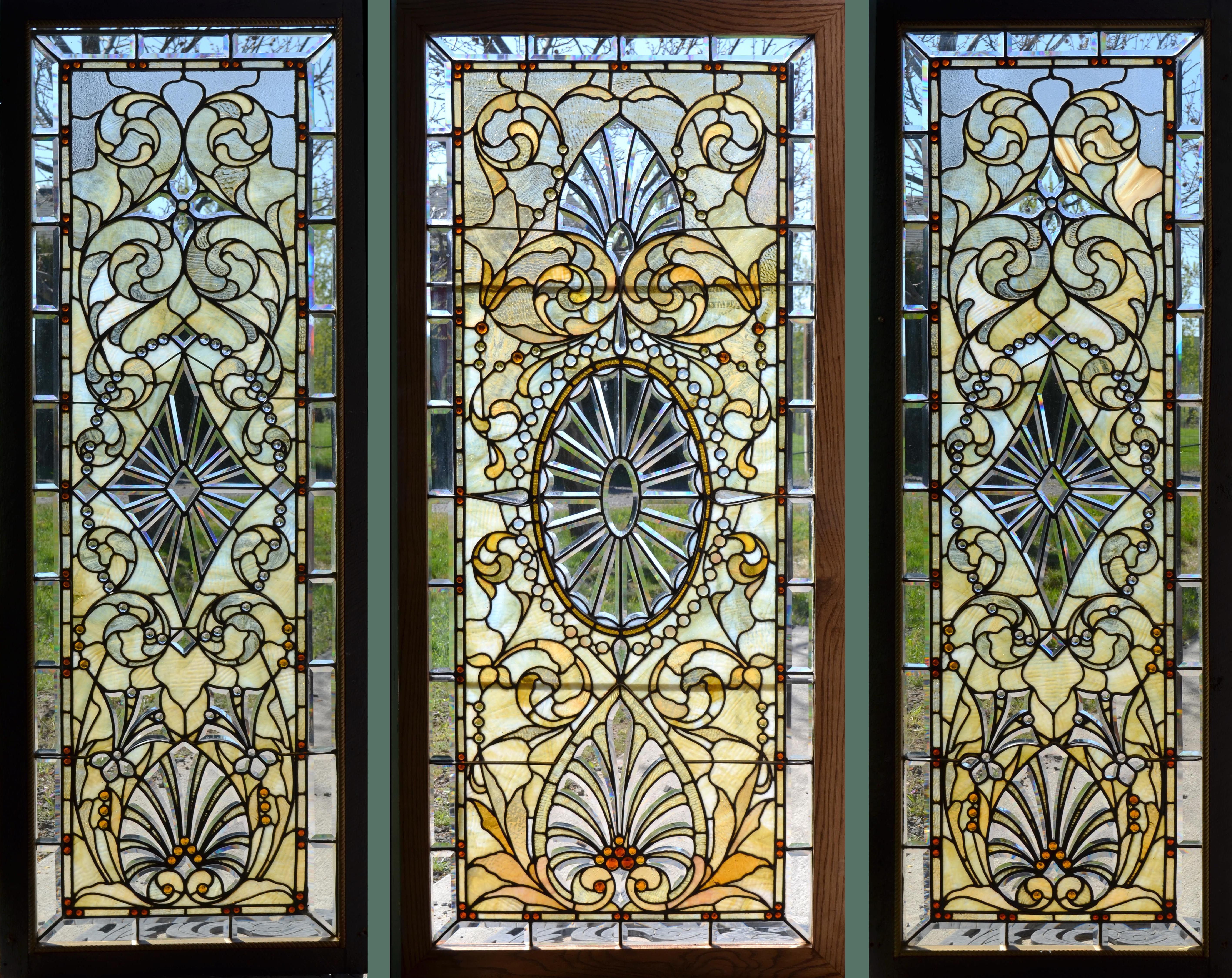 Antique stained glass doors - A Set Of 3 Antique American Stained Jeweled And Beveled Glass Windows Originally Installed