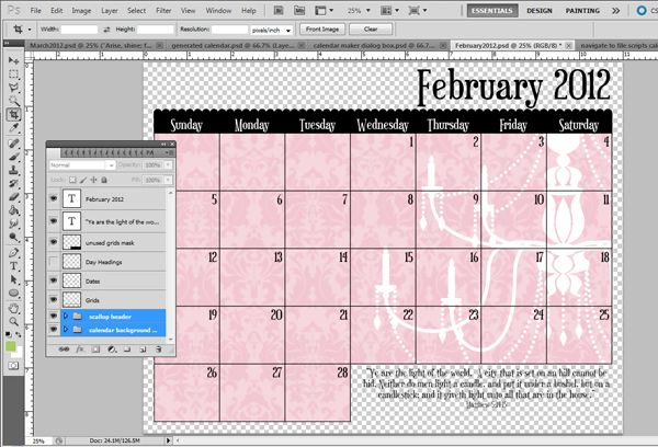 Making calendars in a snap with scripts in Photoshop/Photoshop
