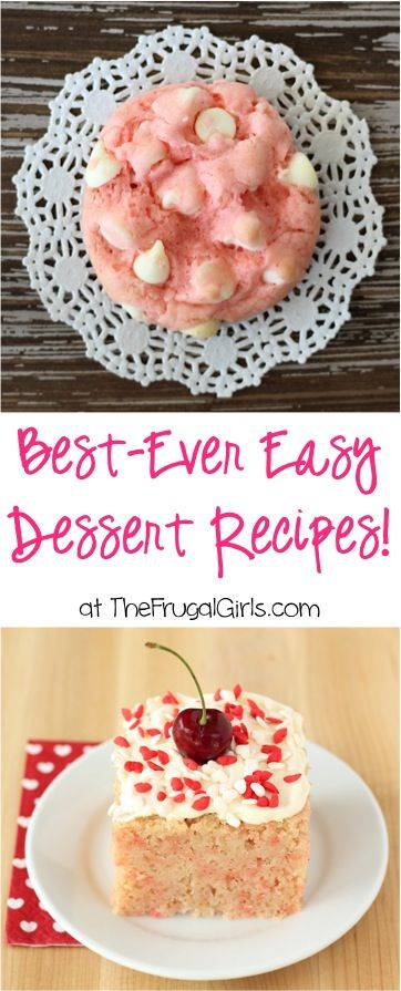Easy Dessert Recipes!  HUGE collection of easy 5 ingredient or Less Desserts your friends and family will love!  | TheFrugalGirls.com