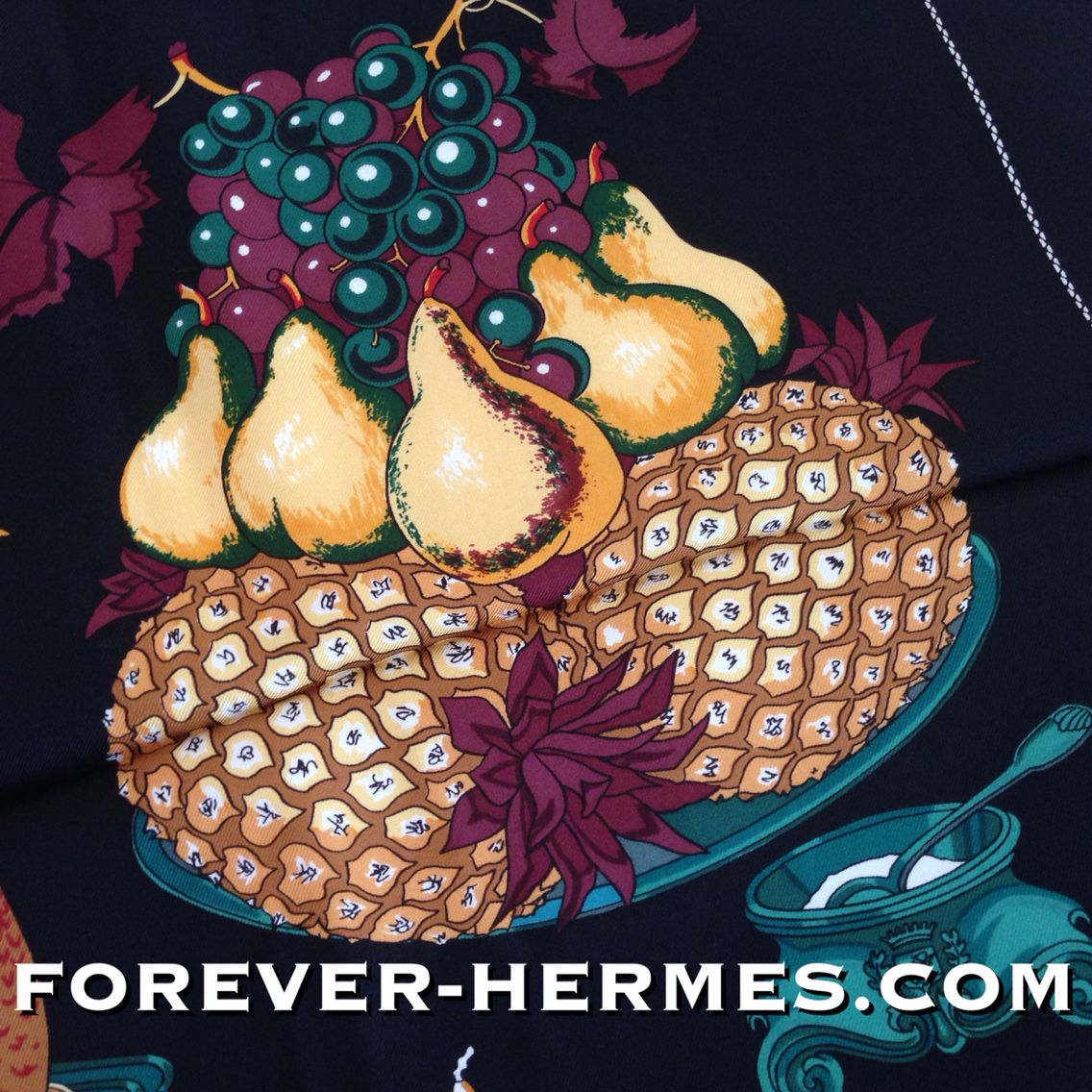 Hermes Paris silk scarf titled Gastronomie designed by French Artist Christiane Vauzelles very rare, this Black is already sold out but the White is in our store now! http://forever-hermes.com #ForeverHermes features Still Life of #Homard #Lobster #pheasant bird, #SeaFood #urchin #oyster French #cheese wine as well as fruits and #cakes would look stunning on your #restaurant wall #kitchen #WallDecor for a luxurious home! #hermescollector #MensSuit #mensnecktie #mensfashion #womensfashion…