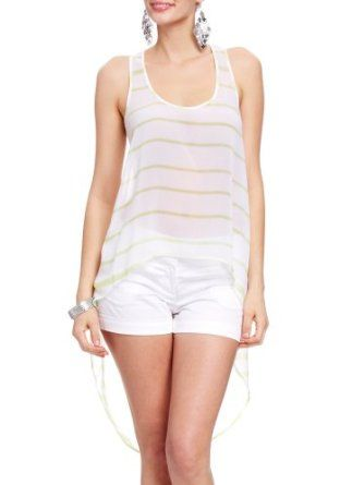 2B Reef Stripe High Low Tank 2b Woven Tops Reef Stripe Lime-l 2b by bebe. $32.95