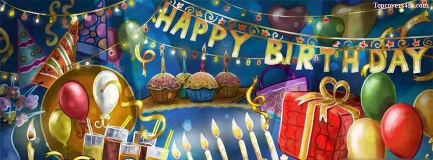 Cartoon Birthday Party cover photo for facebook profile