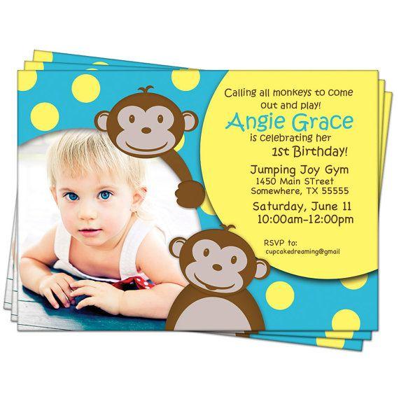 monkey birthday invitation jungle birthday Áine s 1st birthday