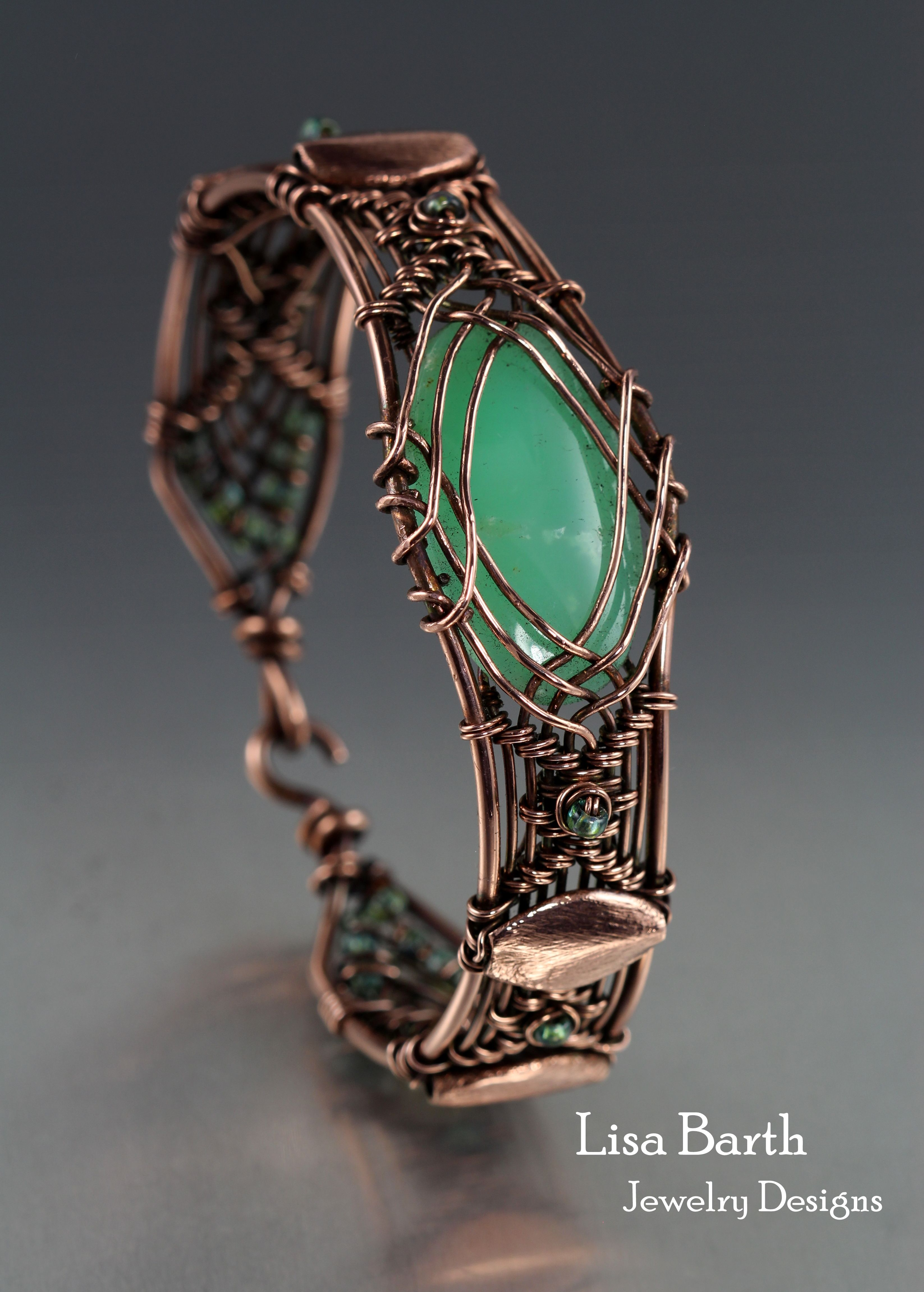 Here is a hand woven bracelet I made with copper wire and a green ...