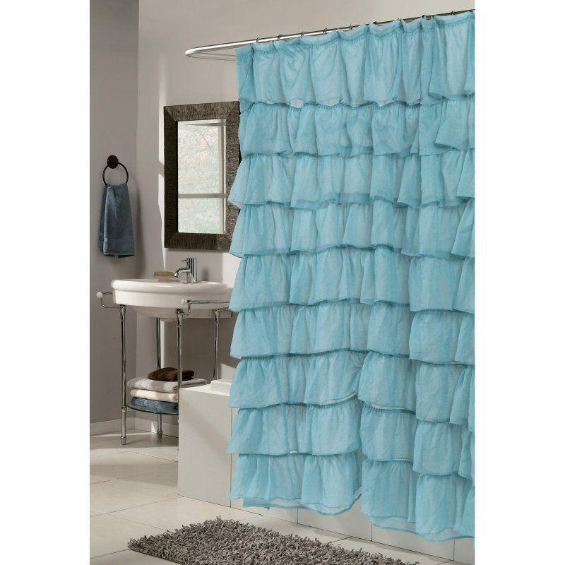 Carnation Home Fashions Carmen Ruffle Tier Fabric Shower Curtain Light Blue    SCVOIL/CAR/