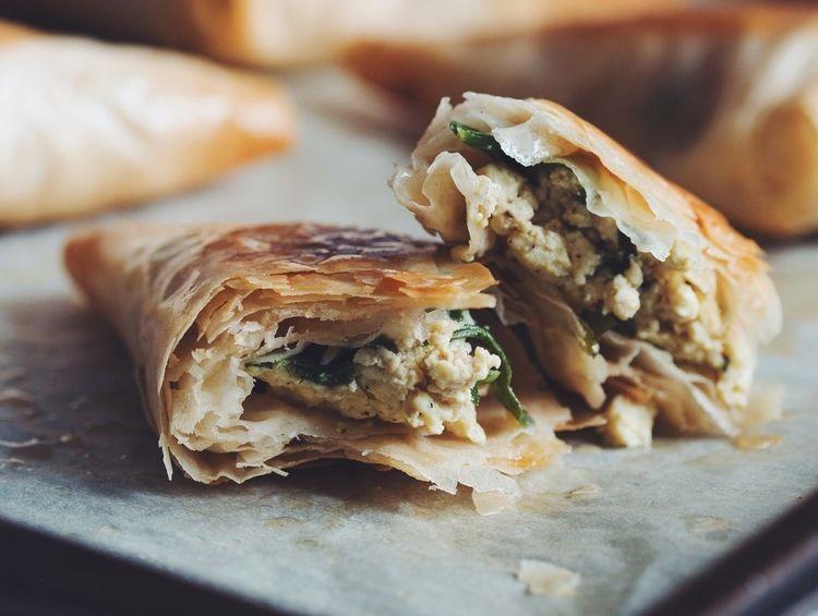 spinach & feta phyllo triangles #vegan   RECIPE on hotforfoodblog.com