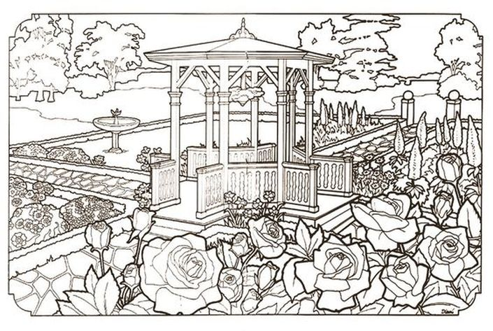 The Garden Of Victorian House Detailed Realistic Coloring Pages