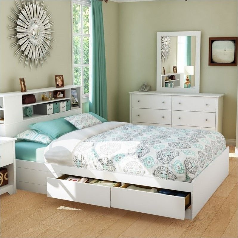 Amazing White Bed Frame Queen With Bookcase Headboard And Drawer ...