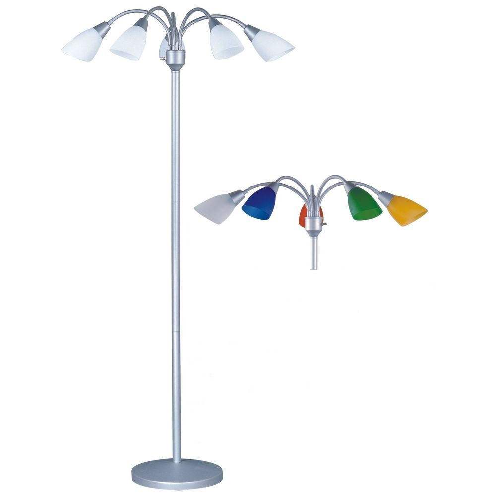 Floor Lamp 5 Light 70 Inches Tall Adjule Arms White Color Shades Madison P