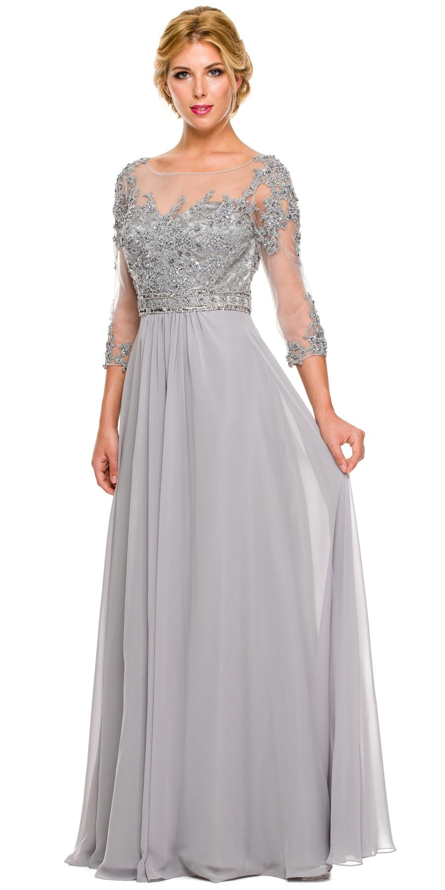 3/4 Length Sleeve Silver Formal Gown Illusion Neck
