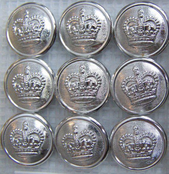 9 silver tone - Generic QUEEN'S CROWN uniform buttons