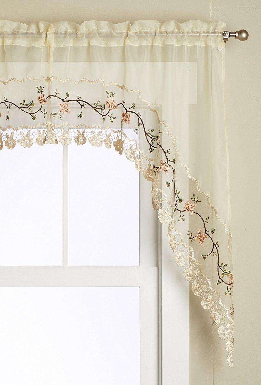 Editex home textiles rose garden piece swag set by inch