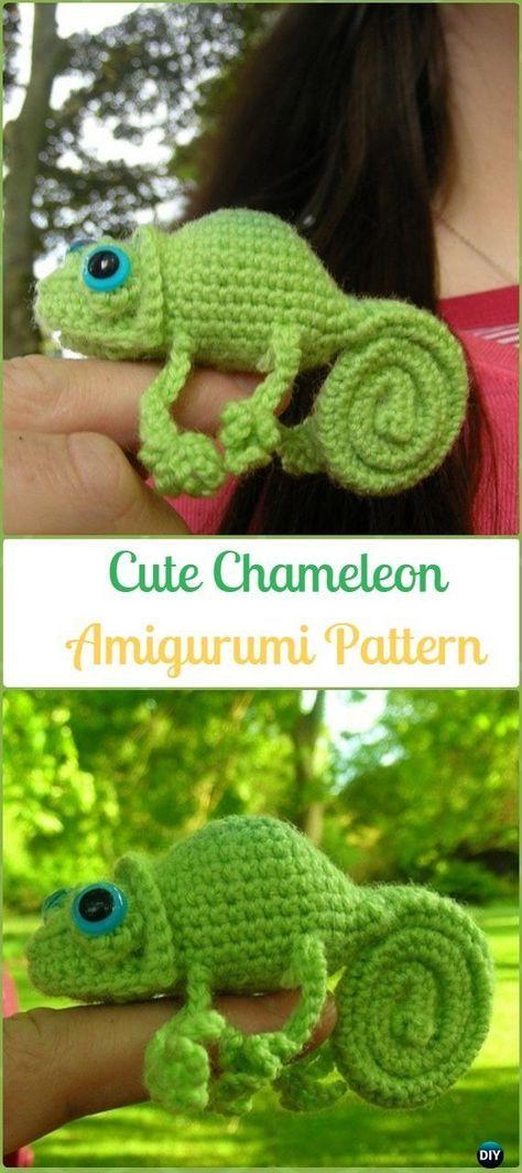 Amigurumi Crochet Cute Chameleon Paid Pattern Crochet Chameleon