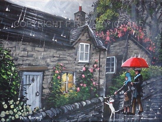 PETE RUMNEY FINE ART BUY ORIGINAL ACRYLIC PAINTING RAINY ENGLISH COUNTRY COTTAGE HAND PAINTED BY BRITISH