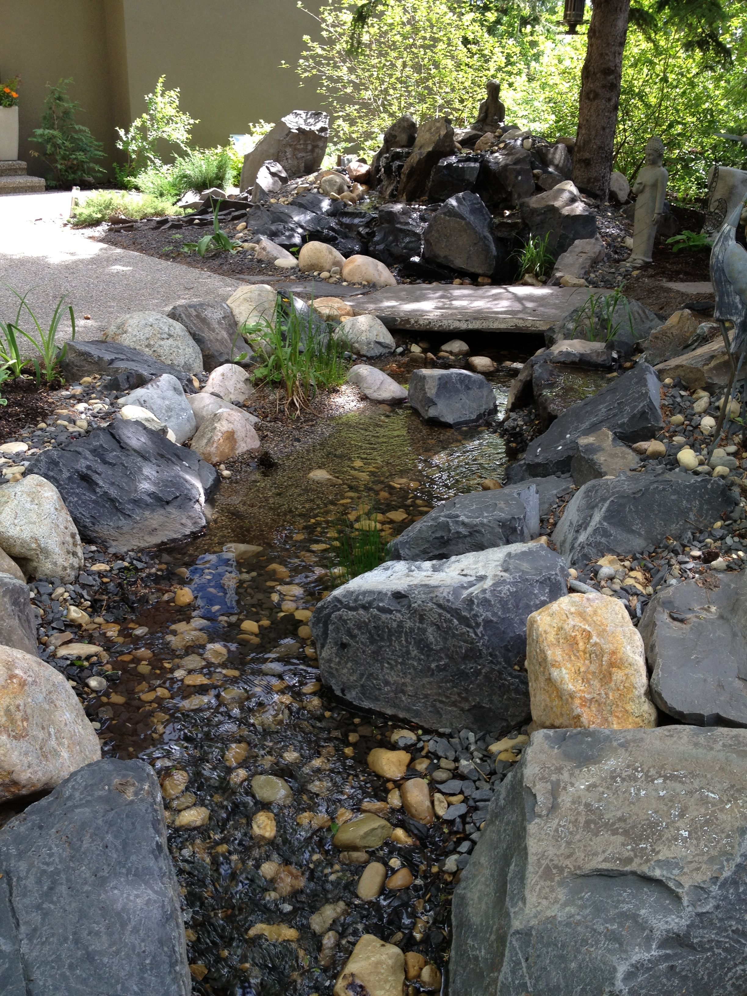 Diy backyard creek backyard ideas pinterest backyard for Waterfall garden feature