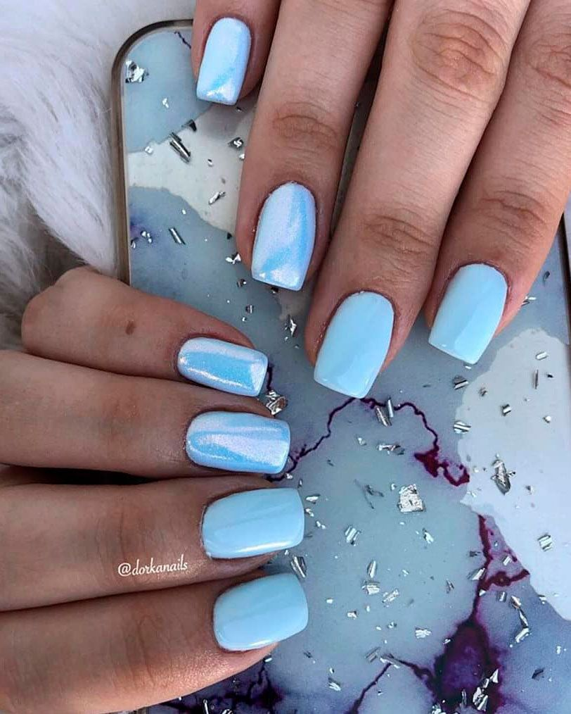 So Cute Short Acrylic Nails Ideas You Will Love Them Sns Nails Colors Baby Blue Nails Nail Designs