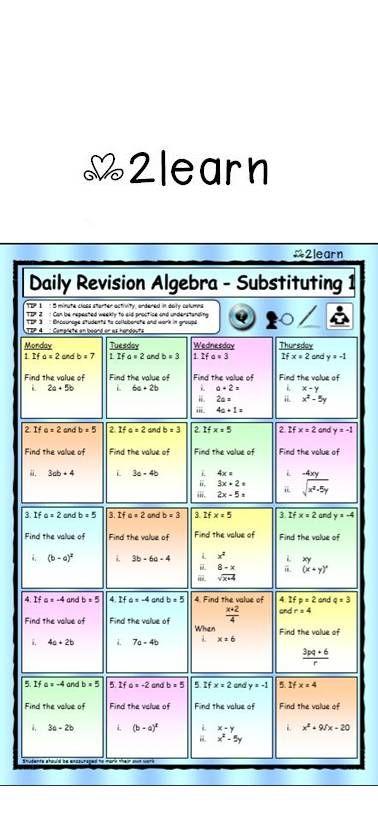 Free Math Daily Revision Worksheets Algebra 1 Substitution Worksheets Math Maths Mathsworksheets Algebra Algebra Algebra Worksheets School Algebra