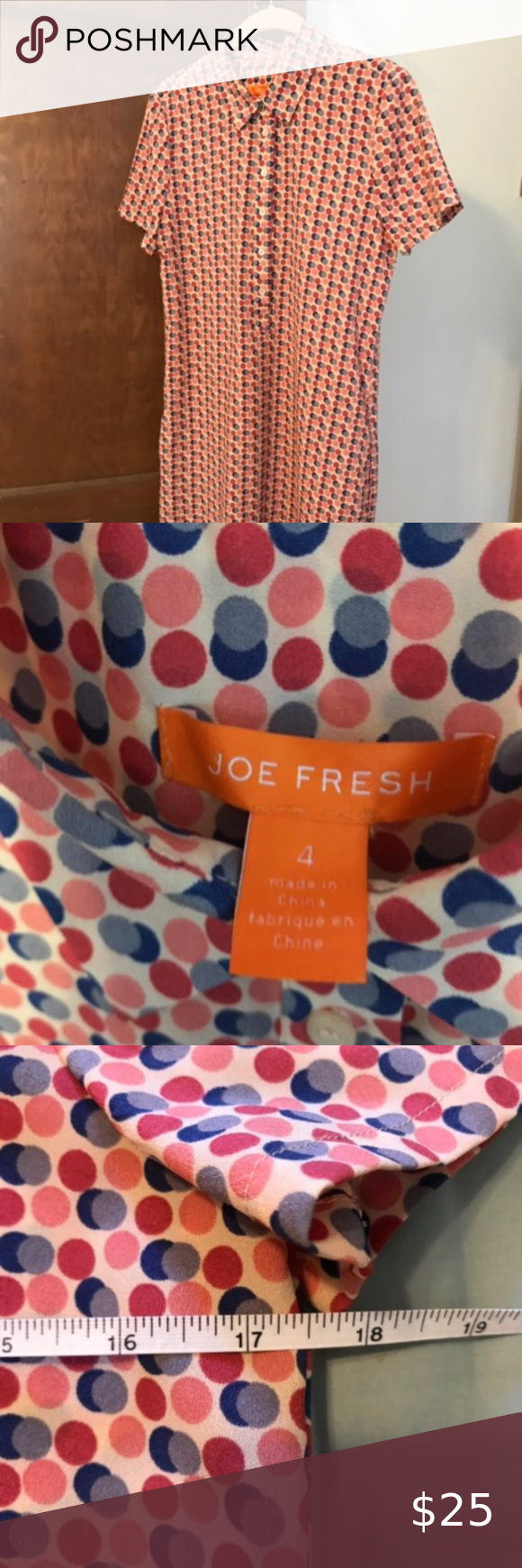 Polka Dot Shirt Dress w/ Pockets By Joe Fresh. Excellent condition (wore once fo...