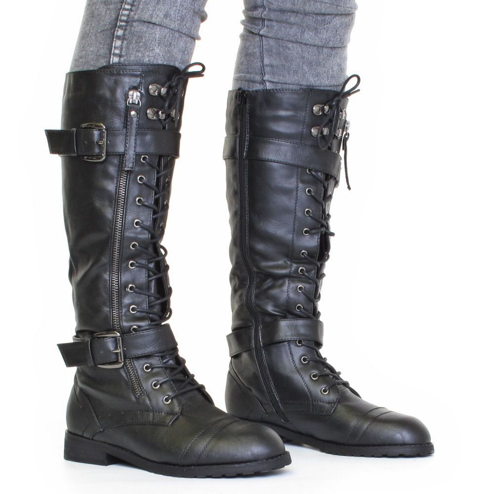 pictures of knee high combat boots | ... about WOMENS KNEE HIGH ...
