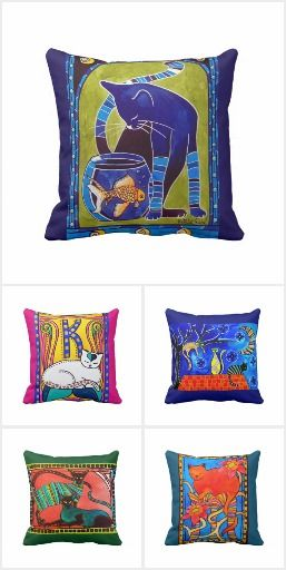 40% OFF CAT PILLOWS for Cat Lovers Code: ZAZFLASHSAVE Cat Art by Cats of Karavella