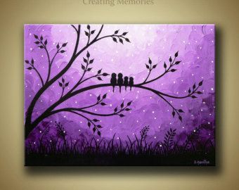 Family of birds on tree, Landscape original Acrylic Painting on Canvas - Purple Modern Contemporary Abstract Home Wall decor Artwork