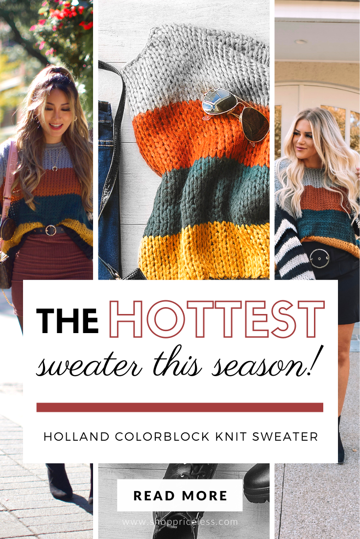 The Season's Hottest Sweater: Holland Colorblock Sweater  #oversizedknitsweaters It may be getting chilly outside, but this #WinterSweater is on fire! Discover why the Holland Colorblock Oversized Knit Sweater is the top selling sweater of the season! Oversized and #BulkyKnits are a huge trend this winter and its one of the many reasons why this #OversizedSweater needs to be in your winter wardrobe ASAP. Read more here!  #letsbePriceless #WomensFashion #WinterTrend #WinterOutfit #FallOutfit #Win #oversizedknitsweaters