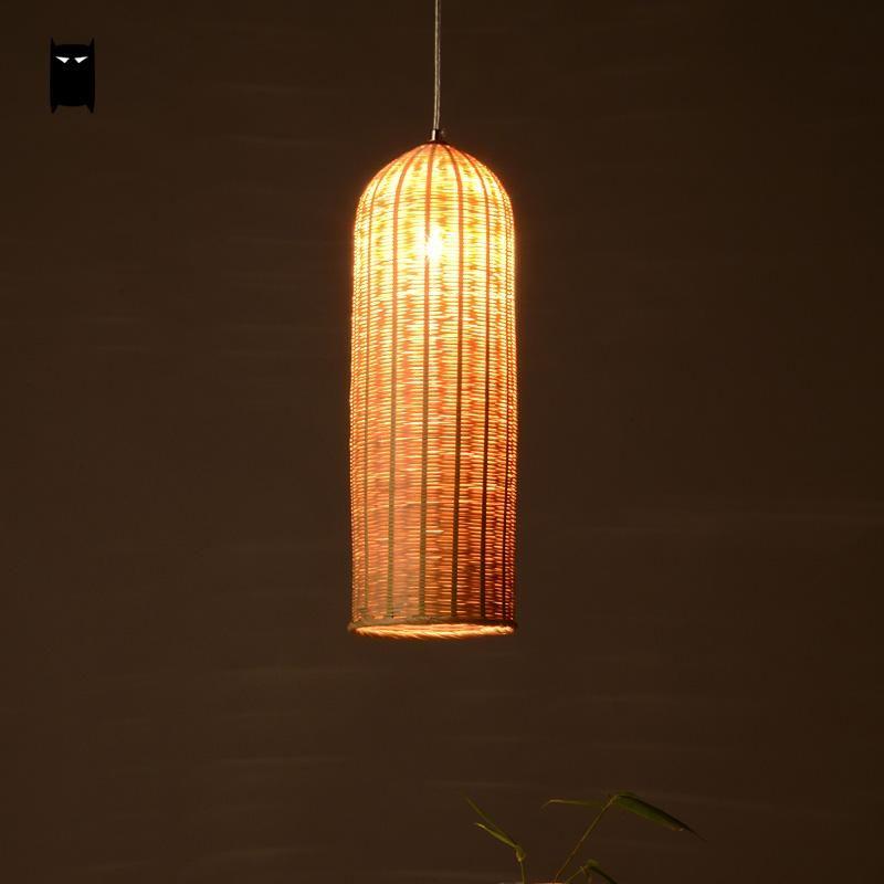 Bamboo Hand-Woven Wicker Rattan Basket Lantern Long Lampshade ...