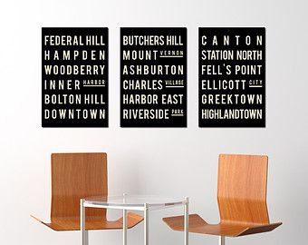 Subway Signs BALTIMORE Print Art Poster Living Room Art Decor