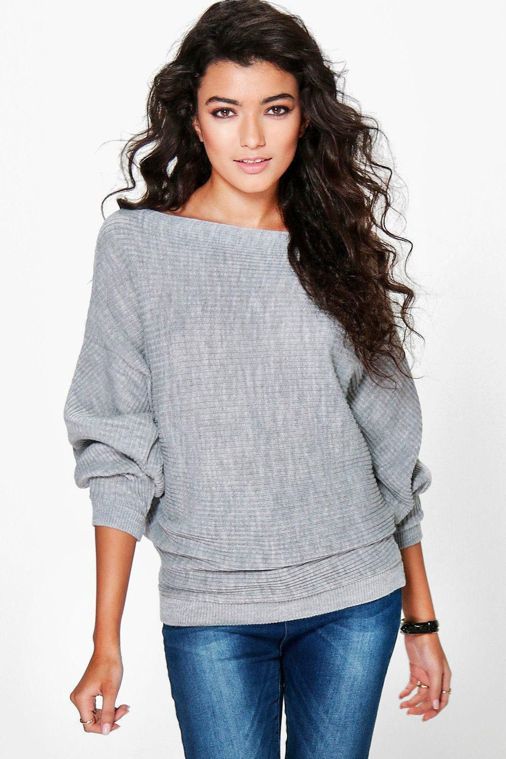 Women Pullover Sweater Solid Boat Neck Bat Sleeve Knit Tops