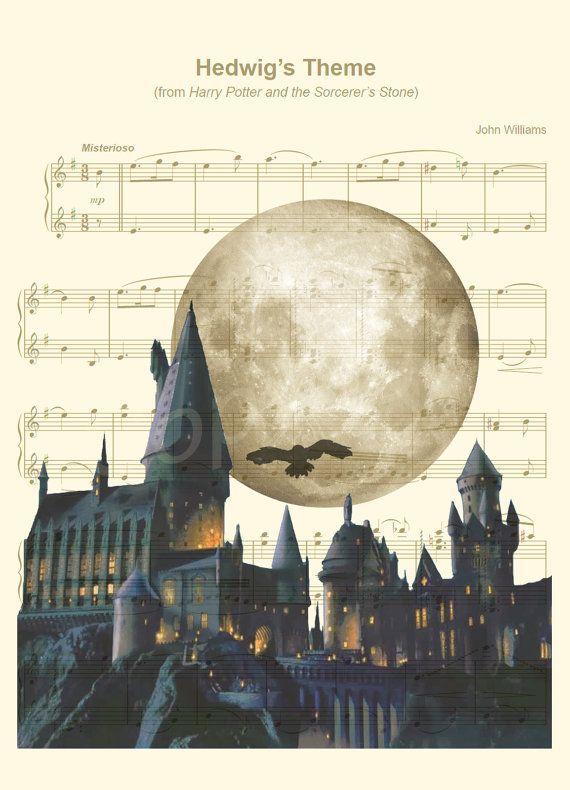 hier ist ein musik noten kunstdruck von hogwarts von harry. Black Bedroom Furniture Sets. Home Design Ideas