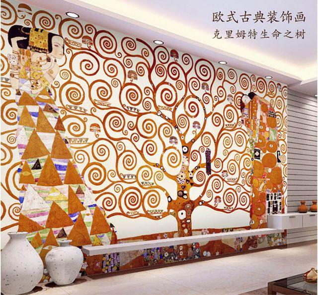 Klimt peinture Papier Peint lu0027arbre de vie Photo Papier Peint - repeindre du papier peint