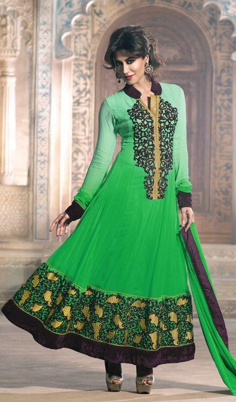 Chitrangada Singh Green and Honeydew Georgette Anarkali Suit Price: Usa Dollar $155, British UK Pound £91, Euro114, Canada CA$167 , Indian Rs8370.