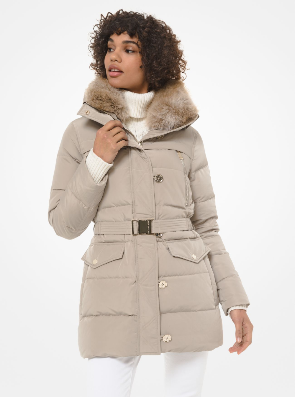 Faux Fur Trim Quilted Tech Belted Puffer Coat Michael Kors Puffer Coat Designer Outfits Woman Clothes Design [ 1346 x 1000 Pixel ]