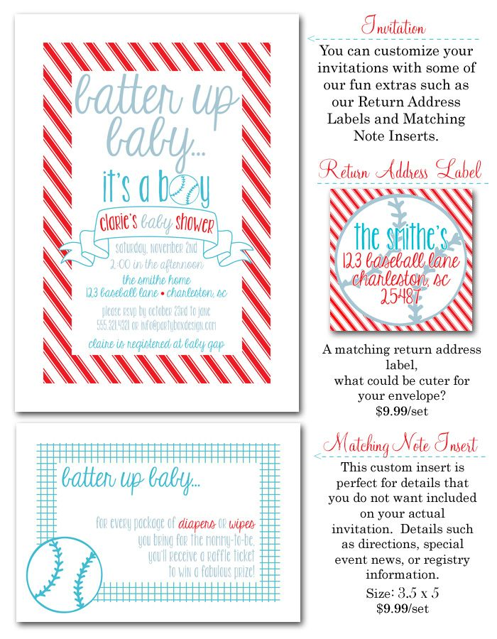 Baseball Baseball Invitations Baseball Baby Shower Boy Shower
